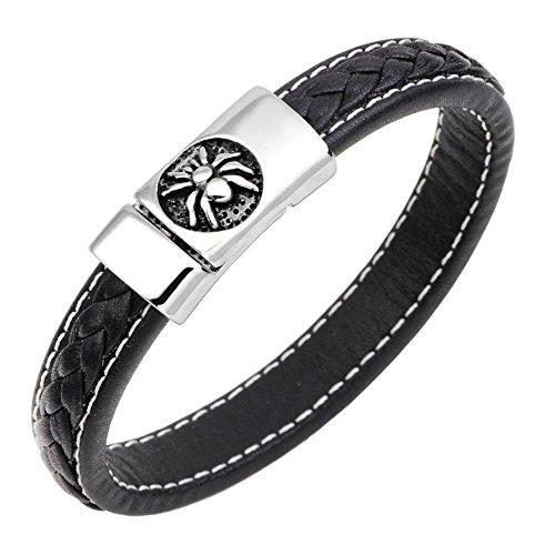 (INMOFN Black White Spider Stainless Steel Clasp Braided Leather Bracelet Men Women Wrist Wide Cuff Bangle Bracelets)