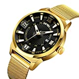 Men's Luxury Analog Quartz Waterproof Wrist Watches Roman Numeral Dial IP Gold Plating Steel Calendar Watch
