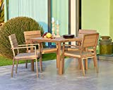 SUNCROWN Outdoor Steel Bar Height Bistro Set (3-Piece Set) with Dining Set (5-Piece Set)