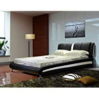 Greatime B1040 Queen Two Tone Vinyl Platform Bed, Black/White