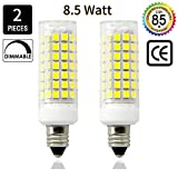 75 watt ceiling fan bulbs - E11 LED Light Bulb 8.5W, 70W or 100W 110V/120v/130v Halogen Bulbs Equivalent Mini Candelabra jd E11 Base T3/T4 LED Bulb dimmable for Ceiling Fan, Indoor Lighting-2packs (Daylight White 6000K)