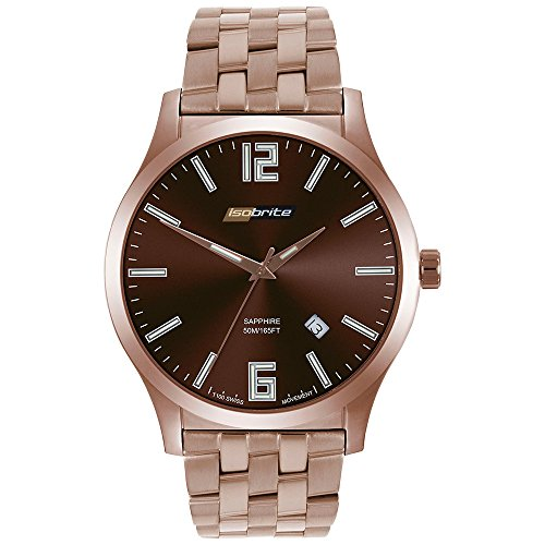 Isobrite ISO914 Grand Slimline Series Watch with Brown Dial and Steel Band