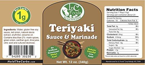 Low Carb Teriyaki Sauce & Marinade - LC Foods - All Natural - Paleo - Gluten Free - No Sugar - Diabetic Friendly - 12 oz