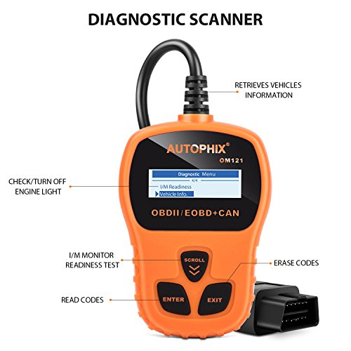 OBD II Code Reader, Autophix OM121 Car Engine Fault Automotive Diagnostic Scan Tool Check Engine Light with I/M Readiness for Ford GM Acura BMW Buick and More (Orange) by AUTOPHIX (Image #1)