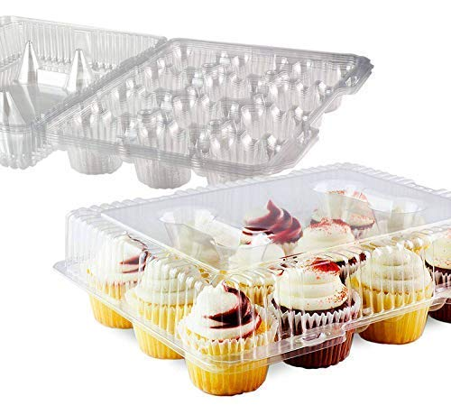 Chefible 12 Plastic Disposable Cupcake Container, Takeout Container, Cupcake Carrier - Set of 4]()