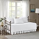 Comfort Spaces - Kienna Daybed Set - Stitched Quilt Pattern - 5 Pieces - White - Includes 1 Bed Spread, 1 Bed Skirt and 3 Pillow Cases