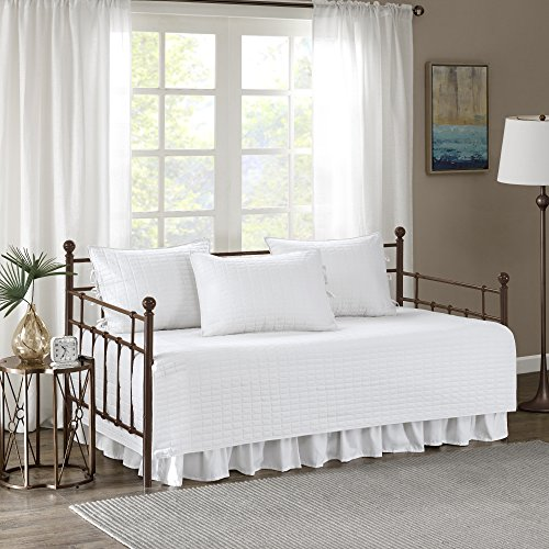 Bedskirt Pattern - Comfort Spaces Kienna Daybed Set - Stitched Quilt Pattern - 5 Pieces - White - Includes 1 Bed Spread, 1 Bed Skirt and 3 Pillow Cases