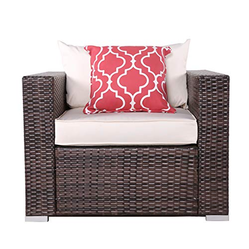 Do4U Patio Loveseat Wicker Single Chairs, All Weather PE Wicker Sofa Chair, Additional Seats Sectional Sofa, Love Seat Thick Beige Cushions, Steel Frame, Brown (8115-MIX-BEG)