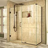 shower glass - DreamLine Unidoor Plus 60 in. W x 34 3/8 in. D x 72 in. H Frameless Hinged Shower Enclosure, Clear Glass, Oil Rubbed Bronze, SHEN-24600340-06