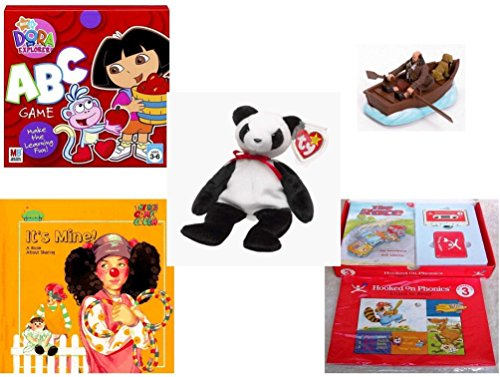 Children's Gift Bundle - Ages 3-5 [5 Piece] - Dora the Explorer: ABC Game - Disney Pirates of the Caribbean Motorized Skiff Action Toy - Ty Beanie Baby - Fortune the Panda Bear - It's Mine. A Book A