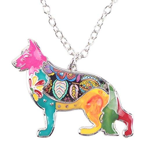 German Shepherd Dog Necklace - BONSNY Love Heart Enamel German Shepherd Dog Necklace 18