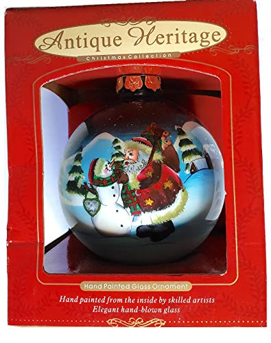 Antique Heritage Reverse-Painted Glass Hanging Ornament - Santa with Snowman