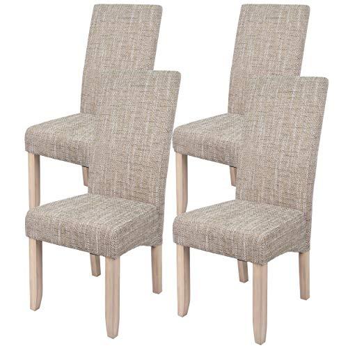 Abitti Pack 4 sillas para Comedor o Salon tapizadas en Color Arena y  Estructura de Pino.