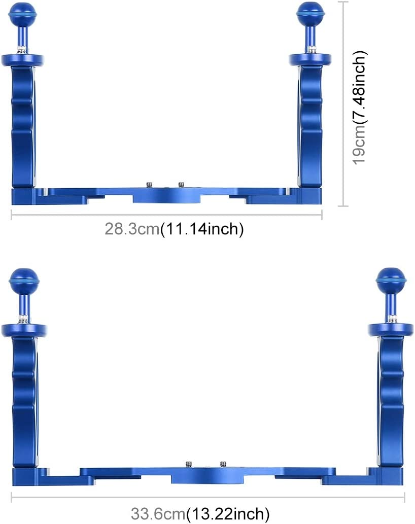 Color : Blue CAOMING Dual Handles Aluminium Alloy Tray Stabilizer for Underwater Camera Housings Durable