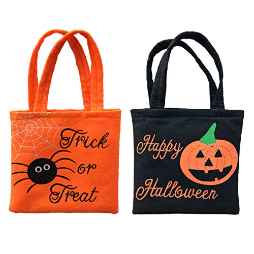 Funove Halloween Pumpkin Trick or Treat Bags Candy Tote Bags for Boys or Girls Costume Party (2 Pack) (Black & Orange) -
