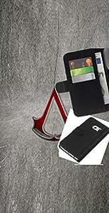 KLONGSHOP // Tirón de la caja Cartera de cuero con ranuras para tarjetas - Asesinos Logo - Samsung Galaxy S6 EDGE //