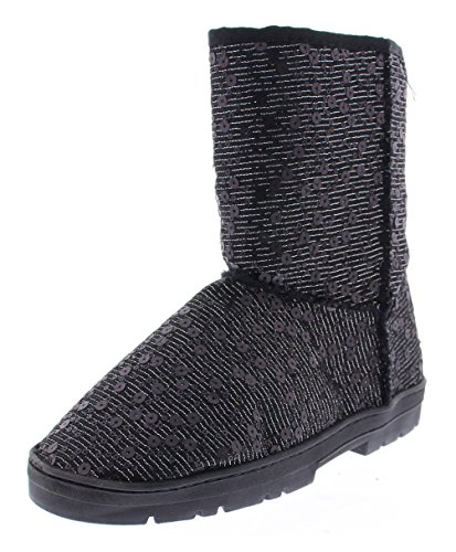 GOLDTOE Gold Toe Women's Effie Metallic Sparkle Sequin Boot Black 8 US (Winter For Boots Sequin Women)