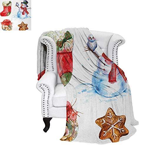 Weave Pattern Blanket Watercolor Xmas Icons Snowman with Owl Sock Gingerbread Cookie Custom Design Cozy Flannel Blanket 50