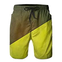 Vvw4 Retro Yellow And Black Casual Water Beach Board Shorts Surfing Running Swimming Watershorts With Poket For Men