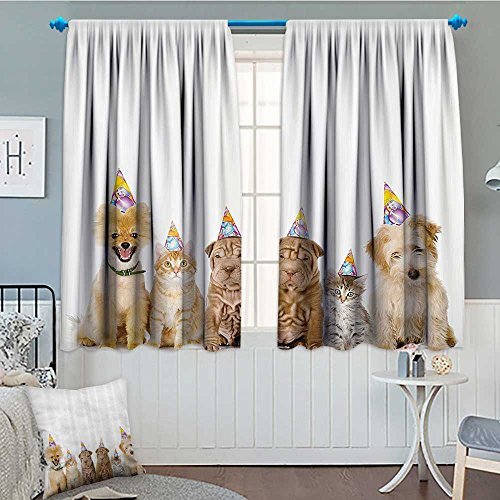 (Birthday Decorations for Kids Waterproof Window Curtain Shelter Dogs Terrier Cats with Cone Hats Party Theme Image Blackout Draperies For Bedroom 84