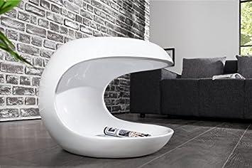 Dunord Design Beistelltisch Couchtisch Weiss Hochglanz Modern Torsion