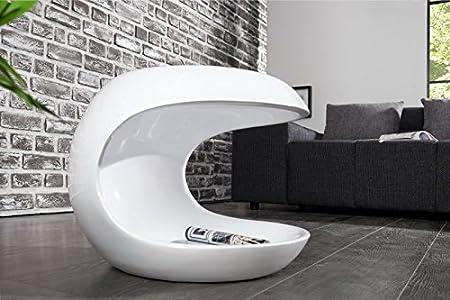 Tavolini Di Vetro Design.Dunord Design Tavolino Da Salotto Bianco Lucido Moderno In