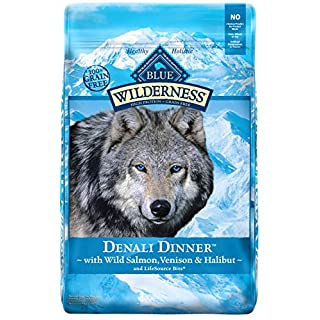 Blue Buffalo Wilderness Denali Dinner High Protein Grain Free  Natural Adult Dry Dog Food with Wild Salmon Venison and Halibut 22lb