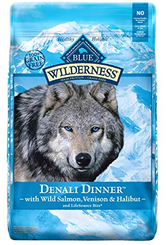- Blue Buffalo Wilderness Denali Dinner High Protein Grain Free, Natural Dry Dog Food with Wild Salmon, Venison & Halibut 22-lb