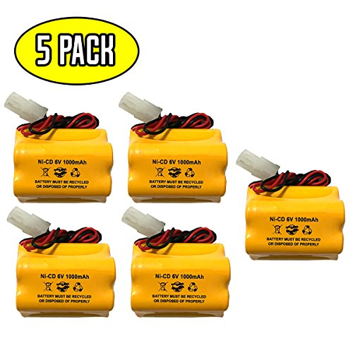 (5 Pack) 6v 1000mAh Ni-CD Battery Pack Replacement Aritech 10050205 Lithonia ENB-06006 ENB06006 Prescolite Exit Sign Emergency Light Sharp 51500RS CE140P E82082100