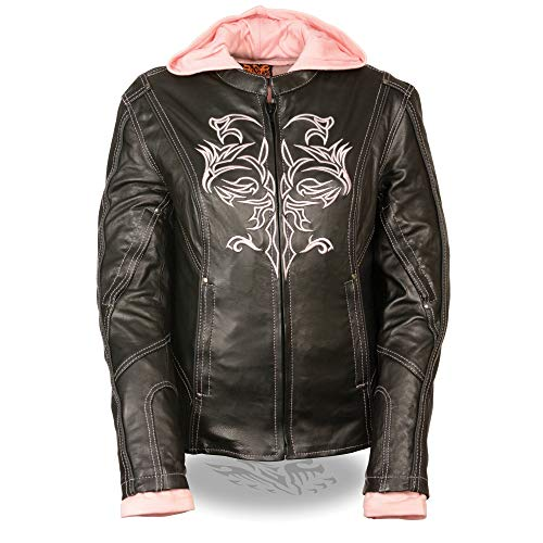 Womens 3/4 Length Textile Jacket Reflective Tribal Detail, Black / Pink Size ()