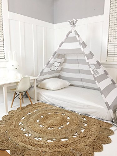Domestic Objects Handmade Grey & White Cotton Canopy Play Tent Toddler Bed. Great for Transitioning from Crib to Bed