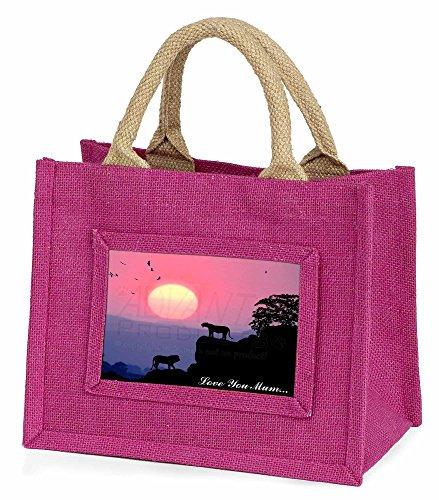 Advanta–Mini Pink Jute Tasche Löwen Sunrise Love You Mum Little Mädchen klein Einkaufstasche Weihnachten Geschenk, Jute, pink, 25,5x 21x 2cm
