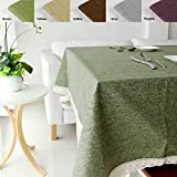 green tabletop - ColorBird Solid Cotton Linen Tablecloth Waterproof Macrame Lace Table Cover for Kitchen Dinning Tabletop Decoration (Rectangle/Oblong, 55