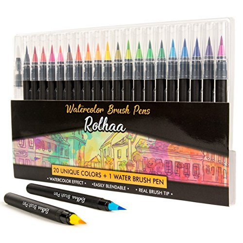 Watercolor Brush Pens - 20 Watercolor Markers Set + 1 Water Brush Pen by Rolhaa | FREE Mandala Coloring E-book | Flexible Brush Tip | Paint Color Marker Set for Kids, Adult Coloring Books, Lettering
