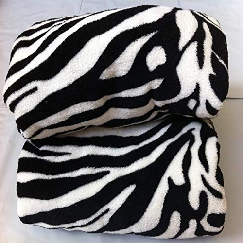 WPM Queen Blanket Sumptuously Soft Plush Black Zebra Animal Print Blankets/Reversible