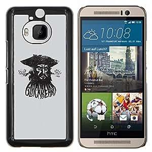 For HTC One M9+ / M9 PLUS - PIRATE SEA CAPTAIN WATERCOLOR BLACK /Caja protectora de pl???¡¯????stico duro de la cubierta Dise???¡¯???¡Ào Slim Fit/ - Super