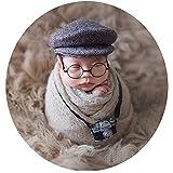 Baby Photography Props Newborn Boy Photo Shoot Outfits Infant Gentleman Lattice Hats (Mini Camera)
