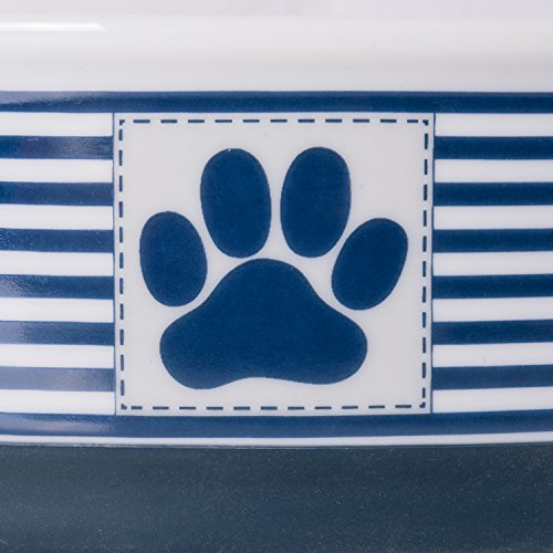 Image of DII Bone Dry Paw Patch & Stripes Ceramic Pet Bowl for Food & Water with Non-Skid Silicone Rim for Dogs and Cats (Small - 4.25