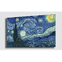 Quadro Notte stellata VINCENT VAN GOGH - RIPRODUZIONE STAMPA SU TELA Quadri Moderni Arte Moderno Astratto Cucina Soggiorno Camera da letto printerland.it (70x100 cm)
