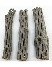 """Awesome Aquatics Natural Cholla/Choya Wood 3 Pieces 6"""" for Shrimp habitat and food treat Hermit Crabs Plecos Aquarium Decoration Lowers pH Hideouts and Chew Toys Reptiles Thorn Free Dried Organic"""
