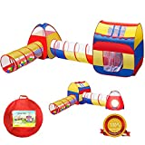 iCorer Extra Large Kid Tent 4pc Pop Up Children Play Tent w/ 2 Crawl Tunnels & 2 Tents - Ball Pits for Boys Girls Toddlers for Indoor & Outdoor Use Children Playhouse w/ Zipper Storage Case