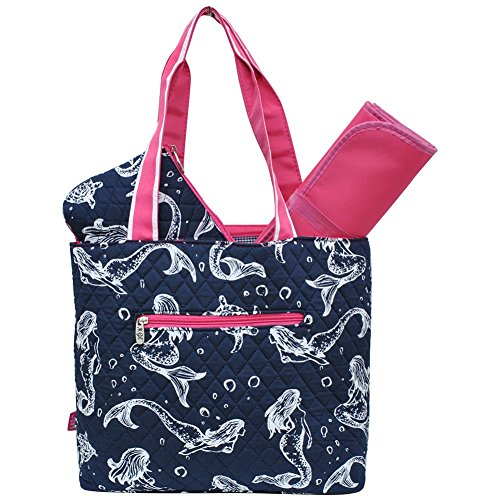 Mermaid Print NGIL Quilted 3pc Diaper Bag