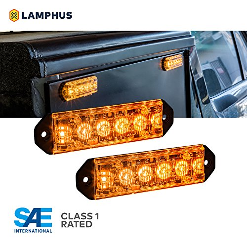 2PC LAMPHUS PlanarFlash PFLH06 Ultra Flat LED light head [SAE Class 1] [72 Paterns] [180° of Coverage] [Fits in Small Places] Warning Lights for Police & Emergency Vehicles - Amber / Amber (Motorcycle Emergency Lights)