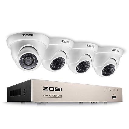 ZOSI 1080P 4 Canales Sistema de Vigilancia DVR con 4 Cámaras Blancas Impermeables, 20M Visión