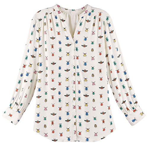 Bee Top - Women's Blouse - Colorful Bug Me Print Button Down Shirt - XL