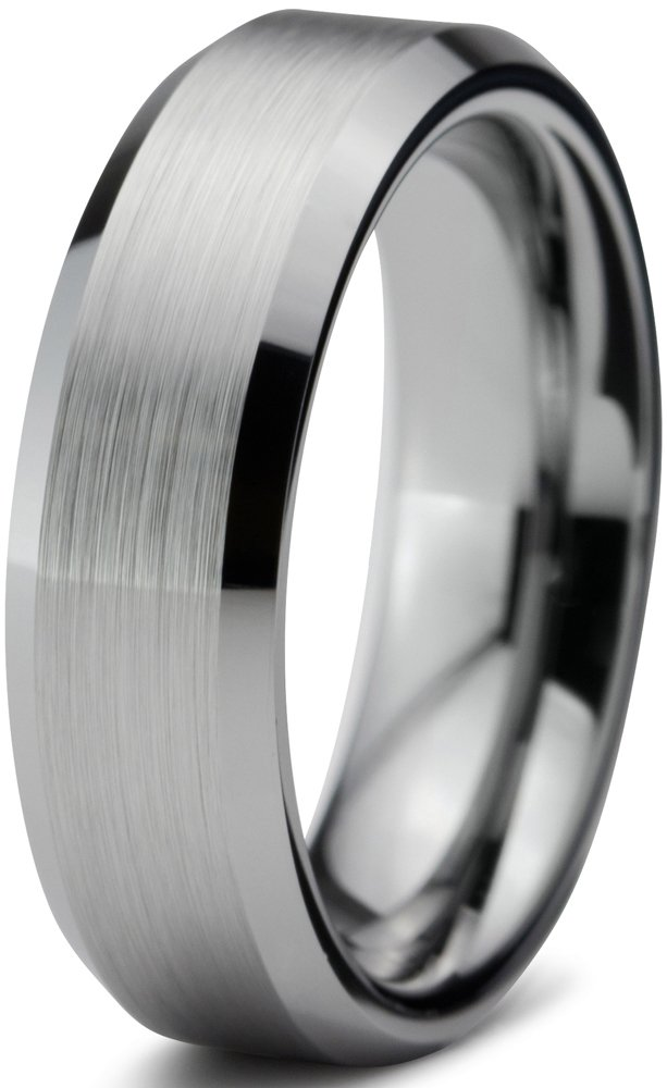 Tungsten Wedding Band Ring 6mm for Men Women Comfort Fit Beveled Edge Brushed Size 9.5