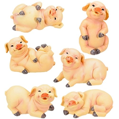 3-Inch Pig Collectible Farm Figurine, Set of 6