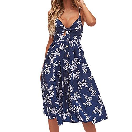 (HTHJSCO Women's Summer Halter Neck Floral Print Sleeveless Casual Mini Dress, Tunic Top Swing T-Shirt Loose Dress (Blue D, L))