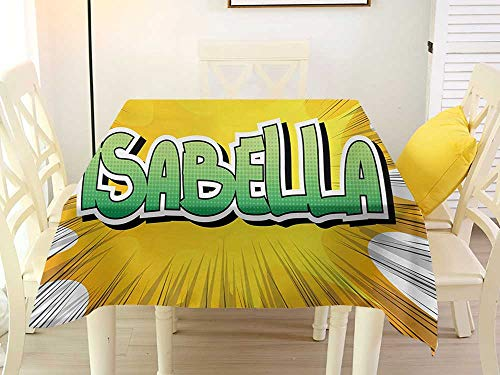 - L'sWOW Checkered Square Tablecloth Isabella American Birth Name on Retro Style Fun Cartoon Backdrop Poster Design Yellow Green and White Fitted 50 x 50 Inch