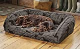Orvis Memory Foam Bolster Dog Bed/Small Dogs Up to 40 Lbs, Gray Lab Plaid